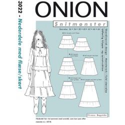 Nederdel m/flæse/skørt Onion snitmønster 3022