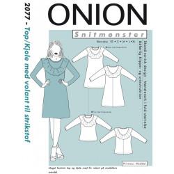 Top/kjole m/volant til strikstof onion snitmønster