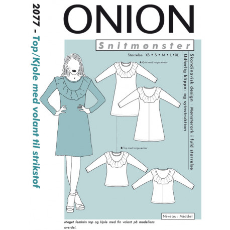 eb60ee32f6fa Top kjole m volant til strikstof onion snitmønster 2077