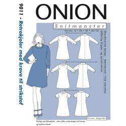 Retrokjole m/krave til strikstof plusmode Onion snitmønster 9011