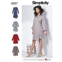 Frakkekjole også plusmode Simplicity snitmønster 8687