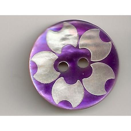 2-huls knap perlemor lilla 11mm