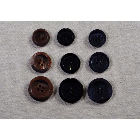 Knap 4-hul marineblå, sort, eller brun