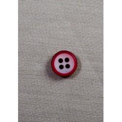 Knap 4-hul 18mm rød/hvid