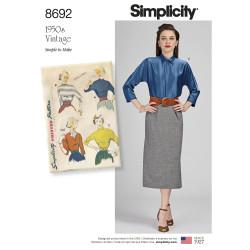 1950èrne Vintage bluse også plusmode snitmønster