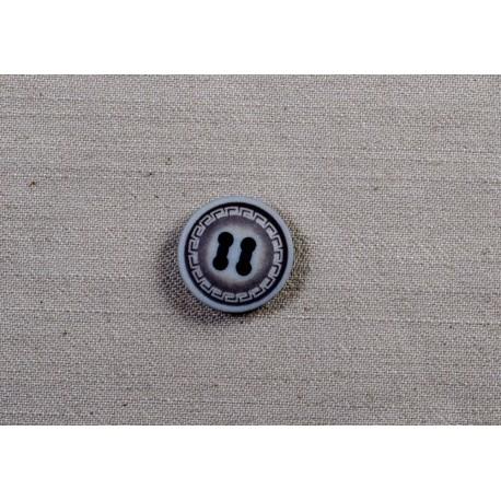Knap 4-hul Grå/sort m/mønster 18mm