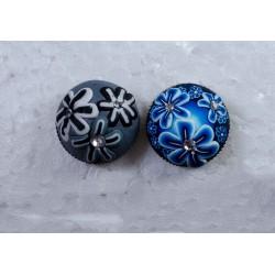Knap m/øje og similisten grå og blå 20 mm
