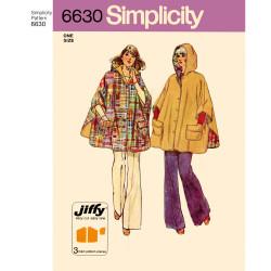 1970èr Poncho m/hætte og lommer snitmønster 6630