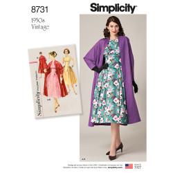 1950èrne Vintage Kjole og frakke snitmønster 8731