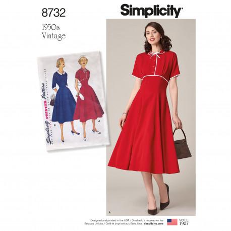 1950èrne Vintage kjole også plusmode snitmønster 8732