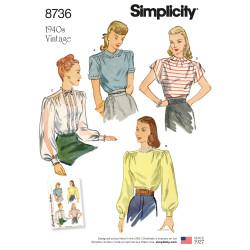 1940èrne vintage bluse også plusmode snitmønster 8736
