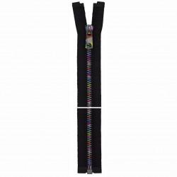 Cose metal Lynlås 6mm, sort med multi farvet kæde, delbar