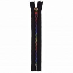 Cose metal Lynlås 6mm, sort med Regnbue farvet kæde, ikke delbar