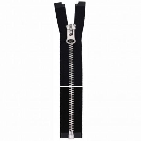 8mm metal lynlås delbar, Sort, sølv kæde og vedhæng