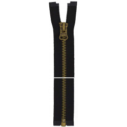 8mm metal lynlås delbar, Sort, kæde og vedhæng i antik messing