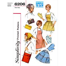 1960èrretro forklæde og tørklæde snitmønster