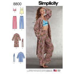 BH-top bukser og morgenkåbe snitmønster Simplicity 8800