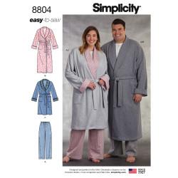Morgenkåbe og pyjamasbukser ham og hende snitmønster easy Simplicity 8804