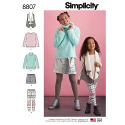 Bluse vest nederdel og leggings snitmønster Simplicity 8807