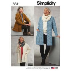 Cotigan og tørklæde snitmønster Simplicity 8811