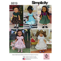 Dukkekjole til 35,5 cm dukke snitmønster Simplicity 8819