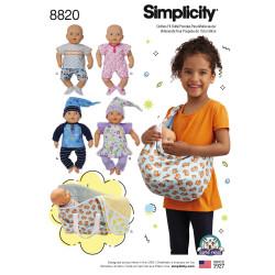 Bæreslynge og dukketøj til 38 cm dukke snitmønster Simplicity 8820