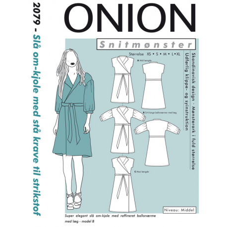 40dec57ca920 Slå om-kjole m stå krave til strik stof onion snitmønster