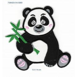 Kæmpe Panda m/bambusgren Broderet strygemærke15x14 cm