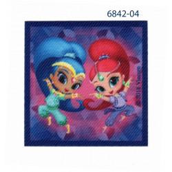 Shimmer & Shine printet strygemærke 6,5x6,5 cm