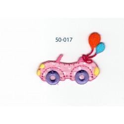Lyserød bil m/ballon strygemærke 4,5x3,5 cm
