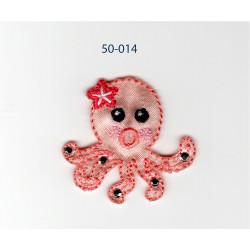 Koralrød blæksprutte m/sten og blomst strygemærke