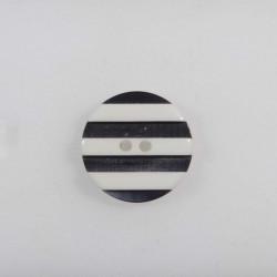 Grå/hvid knap 2-hul 22 mm