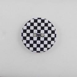 Ternet 2-hul knap sort/hvid 23 mm