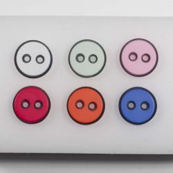 Knap 2 hul m/sort kant 6 farver