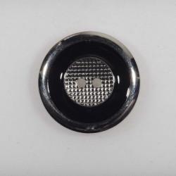 Knap 2-hul metal look sort/sølv 30 mm