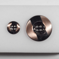 Knap 4-hul metal look gunmetal/kobber