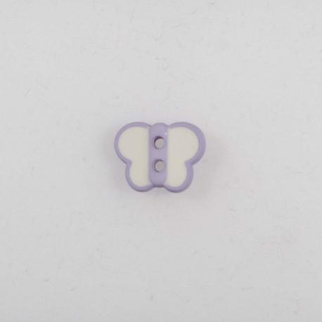 Knap 12mm sommerfugl hvid/lilla