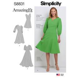 Kjole også plusmode snitmønster simpicity 8831