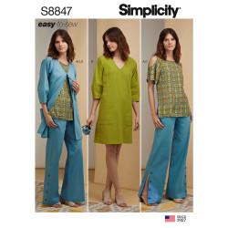 Kjole bukser bluse også plusmode snitmønster Simplicity 8847