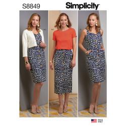 Kjole jakke og nederdel også plusmode snitmønster Simplicity 8849