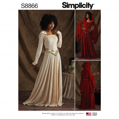 e34b3156 Ny Voksen kostume Kjole m/hætte snitmønster Simplicity 8866