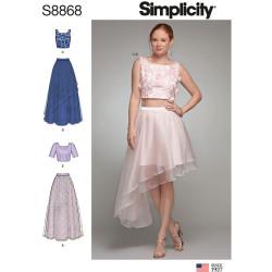 Asymetrisk nederdel og top snitmønster Simplicity 8868
