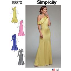 Selskabskjole m/strop snitmønster Simplicity 8870