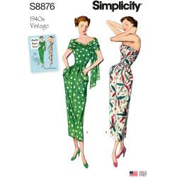 1940érne Vintage kjole også plusmode snitmønster Simplicity 8876