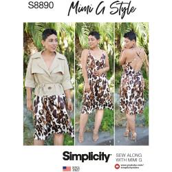 Kjole m/åben ryg og kort jakke også plusmode snitmønster Simplicity 8890