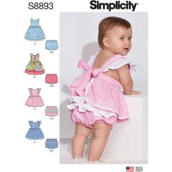 Babytøj Forklædekjole og bukser snitmønster Simplicity 8893