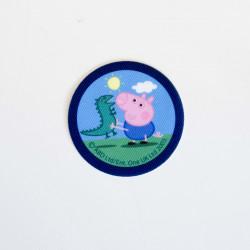 Gustav gris og dragen printet strygemærke Ø 6,5 cm