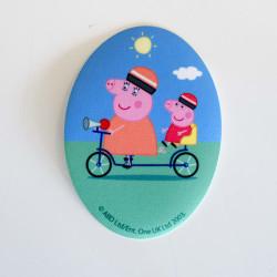 Gurli og Far gris på cykel printet strygemærke 11x8 cm