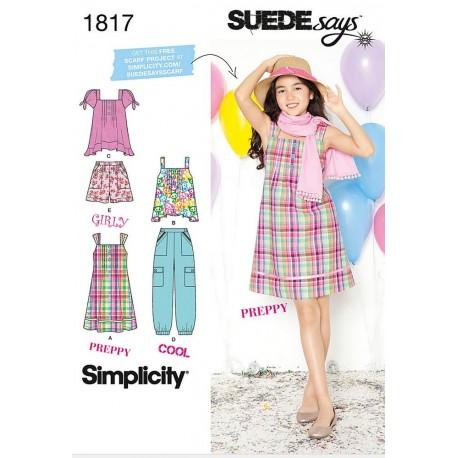 Sæt, pigetøj,kjole,bukser,top også til pige+, simplicity snitmønster