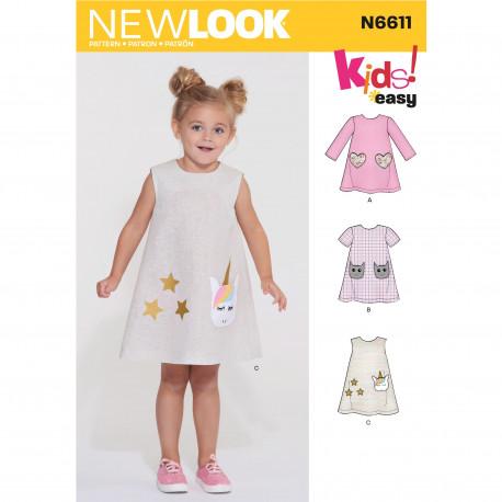 3addc5e555f Ny Pige kjole New look snitmønster easy 6611